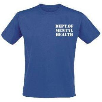 Dept. of mental health. / Patient. Voor en achterzijde bedrukt. Keuze uit T-shirt of Polo en div. kleuren. S t/m 8 XL
