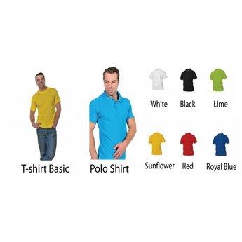Stropdas. Keuze uit T-shirt of Polo en div. kleuren. S t/m 8 XL
