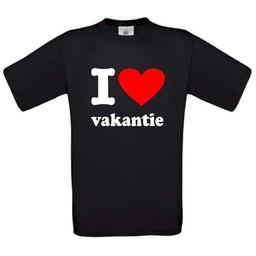 I love vakantie. Keuze uit T-shirt of Polo en div. kleuren. S t/m 8 XL