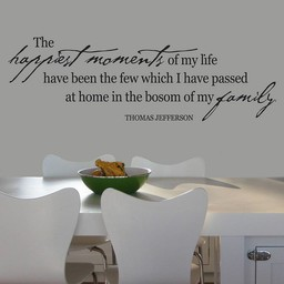 Thomas Jefferson quote. The happiest moments of my life have bin the few which I have passed muursticker