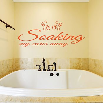 Soaking my cares away Badkamer muursticker - QualitySticker