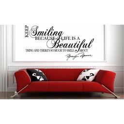Marilyn Monroe - Keep smiling ( met handtekening) muursticker