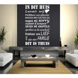 Huisregels 6. In dit huis leven wij, hebben we plezier Muursticker