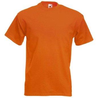 12 kwaliteit's oranje T-shirts van Fruit of the Loom. Keuze uit S t/m 3 XL (Ook andere kleuren leverbaar)