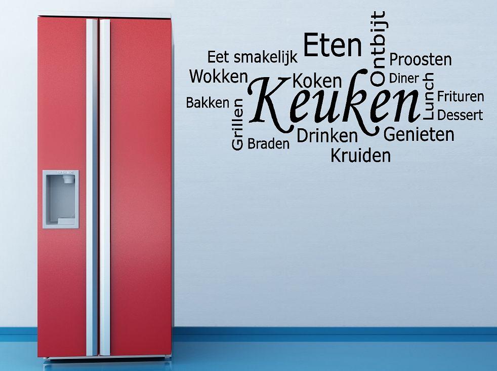 Keuken wordcloud muursticker
