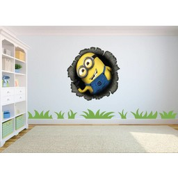 Minion komt door gat in de muur muursticker full color