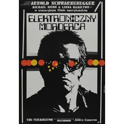 Terminator elektroniczny morderca met Arnold Zwarzenegger movie poster