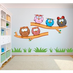 Crazy owls set (gekke uilen set) full color muursticker