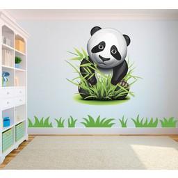 Pandabeer in bamboe full color muursticker