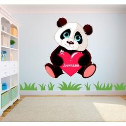 Pandabeer met hart en eigen naam full color muursticker