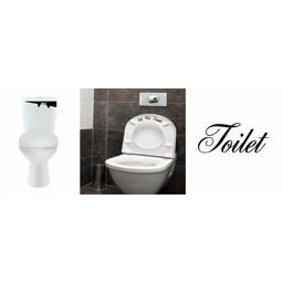 Set toiletstickers. Toilet monster, Put me down! & Deursticker