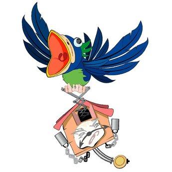 Gekke vogel met klok full color muursticker