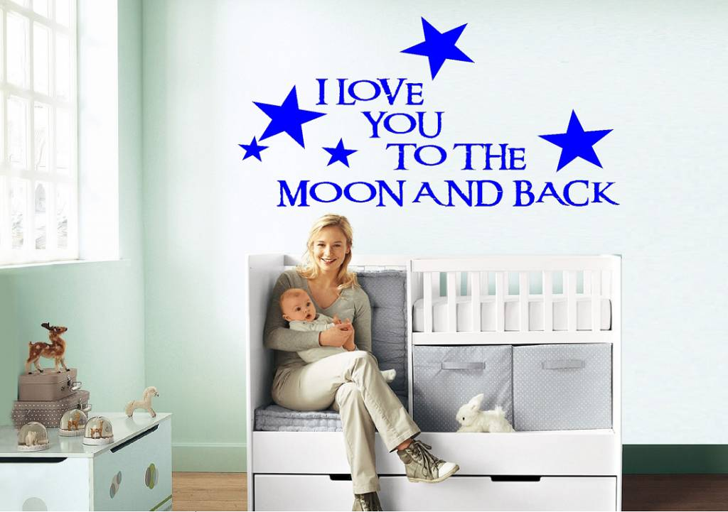 I love you to the moon and back muursticker
