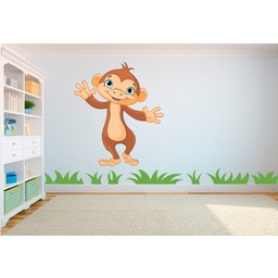 Schattig dansend baby aapje muursticker