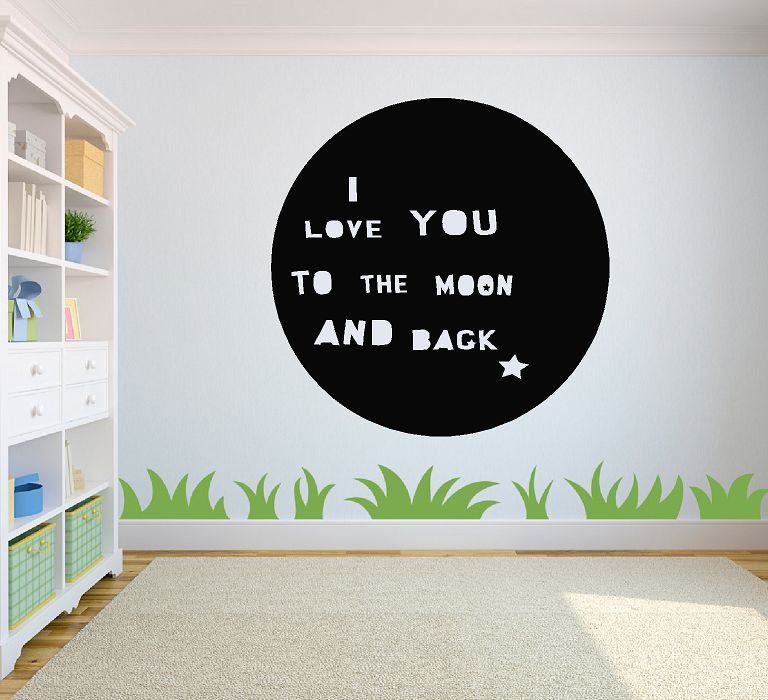 I love you to the moon and back circel muursticker