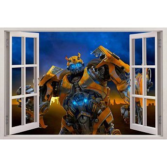 Open raam Transformers Bumbelbee muursticker full color