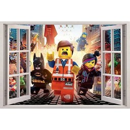 Open raam Lego muursticker full color