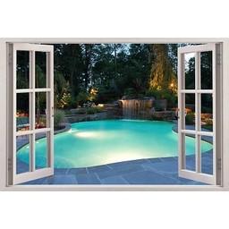 Open raam zwembad uitzicht muursticker full color