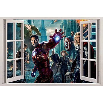 Open raam The Avengers muursticker full color