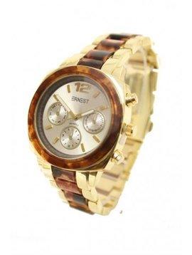Horloge goud gemeleerd bruin
