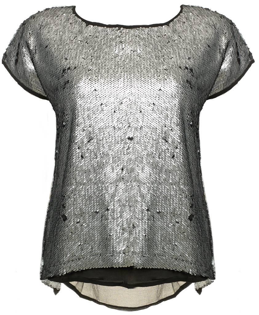 Sequin top Zilver