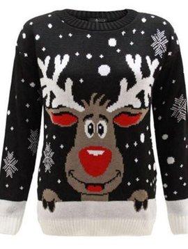 Kersttrui Rendier Zwart