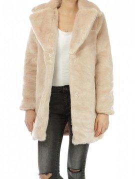 Faux Fur Coat Pink Nude