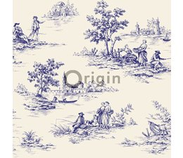 origin toile de jouy behang in delfs blauw eigewijz. Black Bedroom Furniture Sets. Home Design Ideas