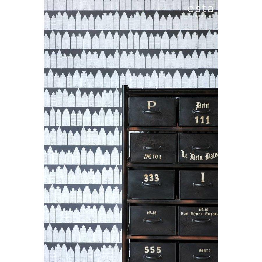 Esta Home Amsterdamse Huizen zwart/wit