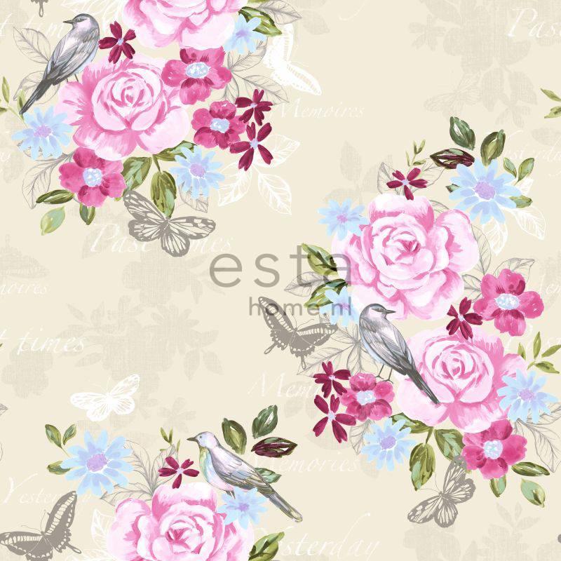 Esta Home Bloemenbehang crème met roze/blauw/groen bloemen - Eigewijz