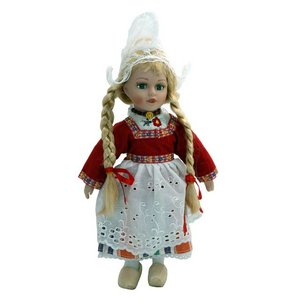 Typisch Hollands Doll in traditional dress (red) 26 cm