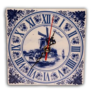 Typisch Hollands Clock Delft Blue Square