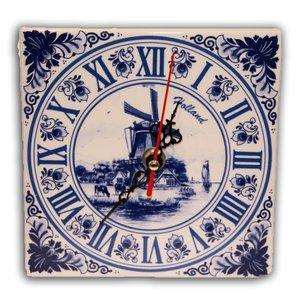Typisch Hollands Klok Delfts Blauw Vierkant