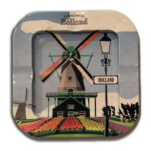 Typisch Hollands Aschenbecher - Metall - Mühle Landschaft