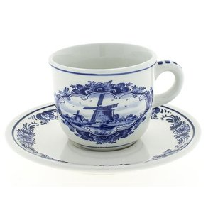 Typisch Hollands Cup and saucer Delft blue