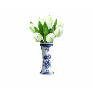 Typisch Hollands 9 houten tulpen in een Delftsblauwe vaas