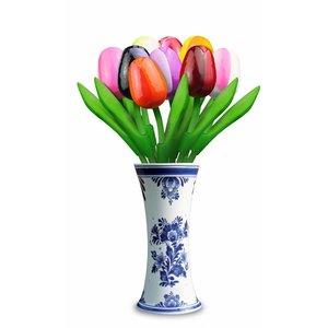 Typisch Hollands 9 kleine Holz Tulpen in Delft blauer Vase