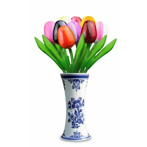 Typisch Hollands 9 small wooden tulips in Delft blue vase