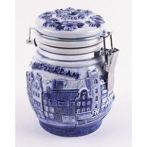 Typisch Hollands Delft blau weckpot 10cm Amsterdam