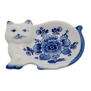 Typisch Hollands Tea dish - Delft blue cat