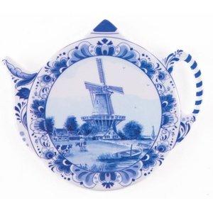 Typisch Hollands Theezak - Schoteltje - Delfts - Molen