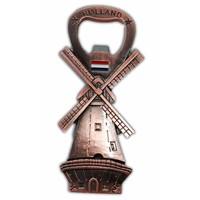 Typisch Hollands Windmühle - Magnet - Flaschenöffner - Kupfer