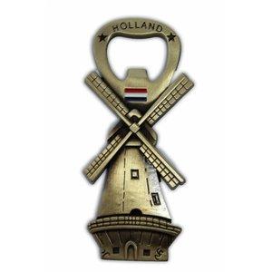 Typisch Hollands Molen - Magneet - Flesopener - Brons