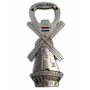 Typisch Hollands Molen - Magneet - Flesopener - Zilver