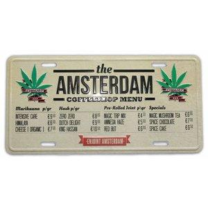 Typisch Hollands Amsterdam Nummernschild - Coffeeshop Menü