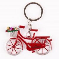 Typisch Hollands Key - Fahrrad mit Tulpen - Red