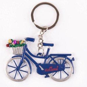 Typisch Hollands Key - Fahrrad mit Tulpen - Blau