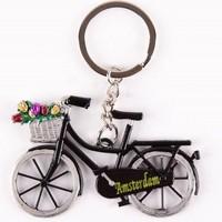 Typisch Hollands Schlüsselanhänger - Fahrrad mit Tulpen - Schwarz