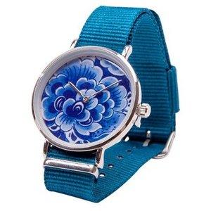 Typisch Hollands Delfter Blau Uhr - Blume