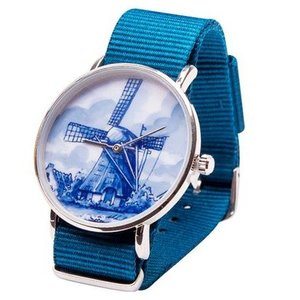 Typisch Hollands Delfter Blau Uhr - Mill